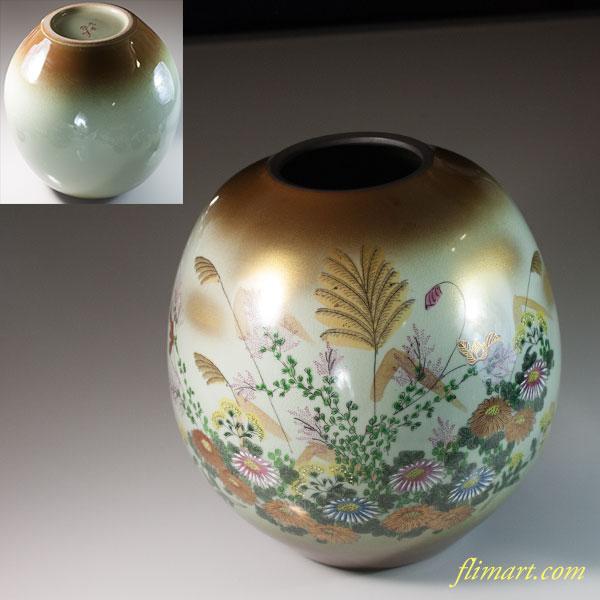 九谷焼啓峰花瓶W6692