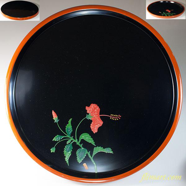 琉球塗琉球漆器天然木一尺二寸丸盆