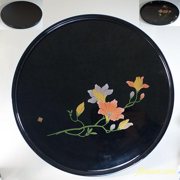 会津塗木蓮一尺丸盆W7008