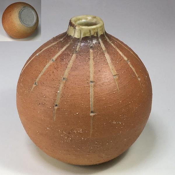 信楽焼丸花瓶W7380