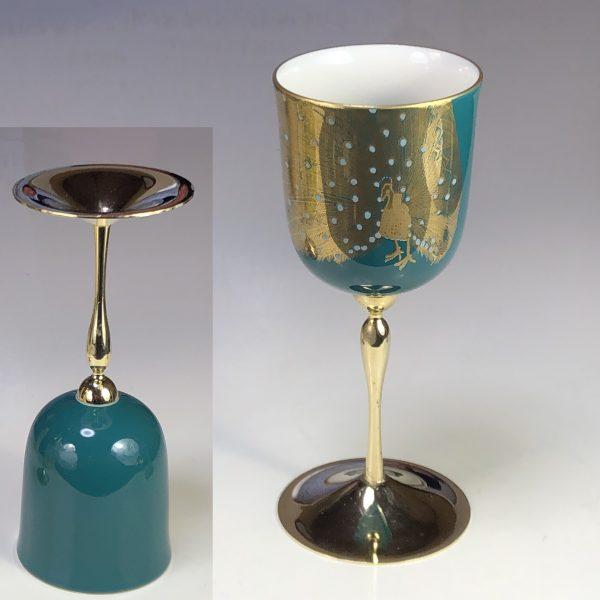 ナルミ陶器製金彩孔雀ワインカップ