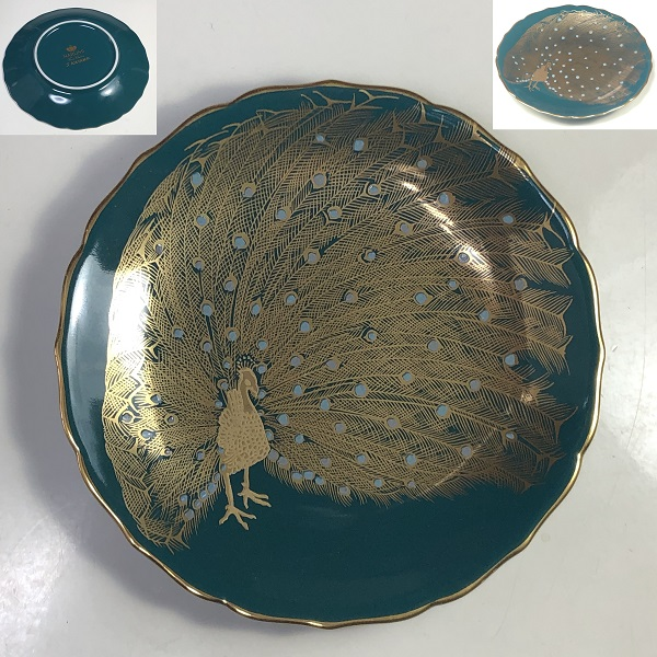 ナルミ金彩孔雀小皿