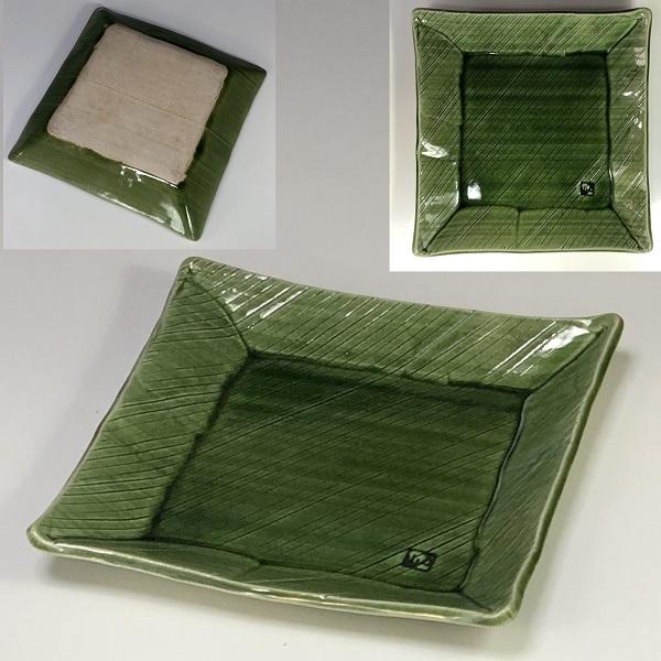 万山緑釉角皿