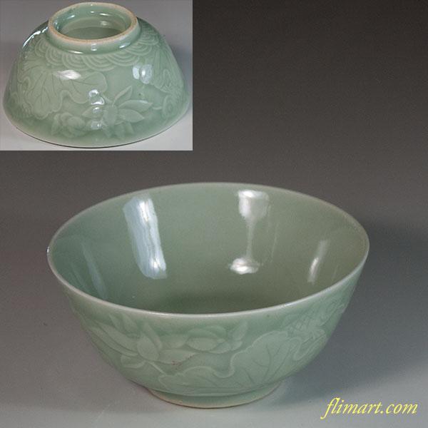 青磁飯茶碗W6832