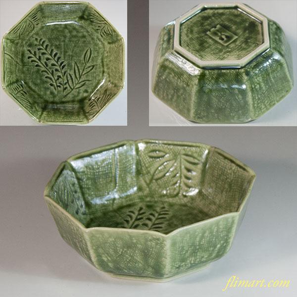 緑釉八角小鉢W7058