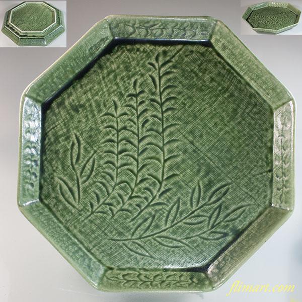 緑釉八角八寸皿W7053