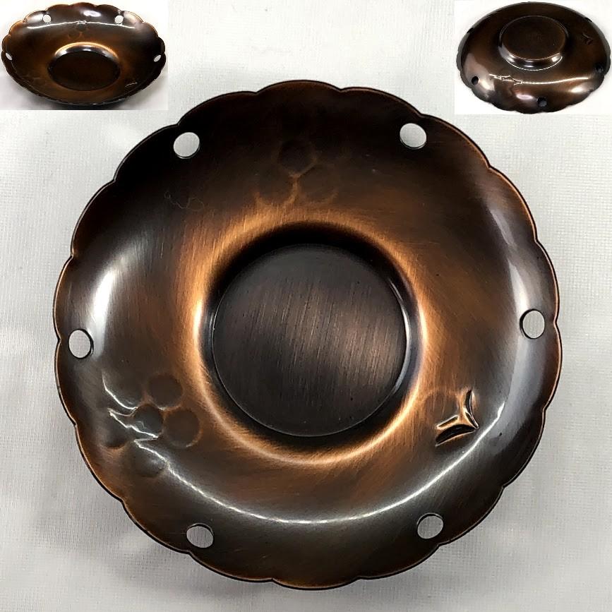 英純堂雲輪型鎚起銅器茶托五点セット