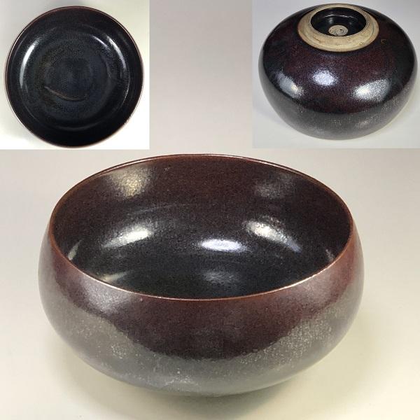 鉄釉六寸鉢W7463