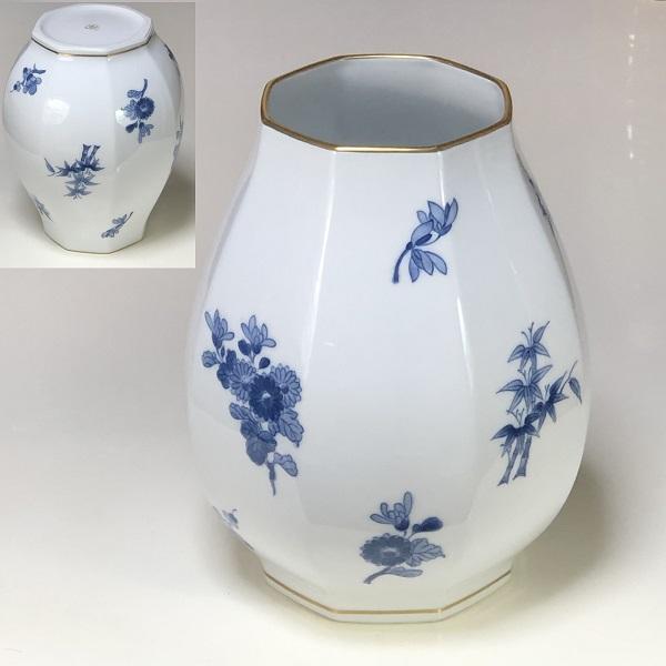 大倉陶園四君子八角花瓶