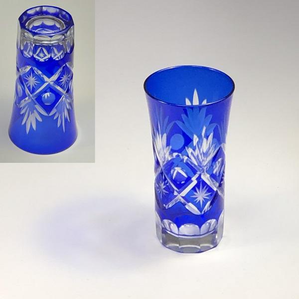 藍切子ガラスコップW7547