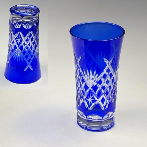 藍切子ガラスコップW7555
