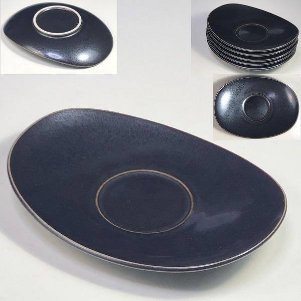陶器製楕円茶托五枚セットW7564