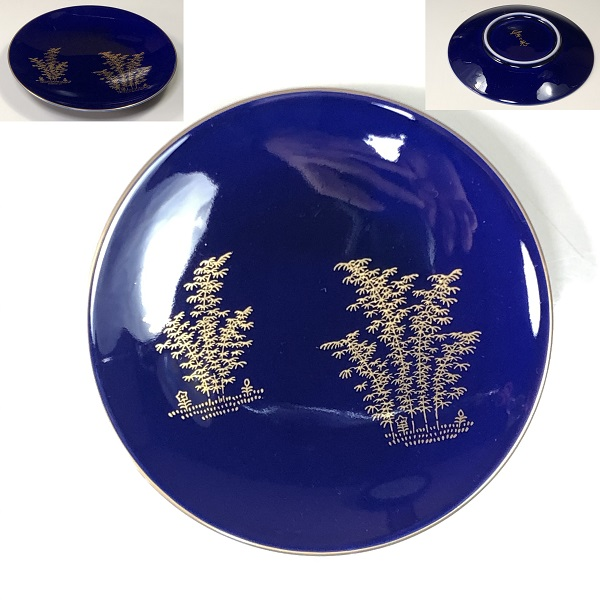 深川製磁瑠璃竹図銘々皿