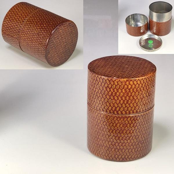 網代漆塗茶筒