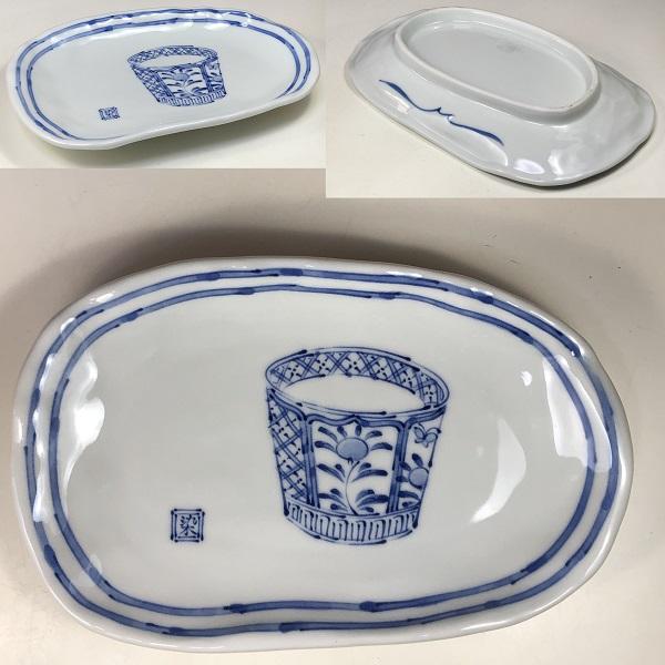 蕎麦猪口図長皿