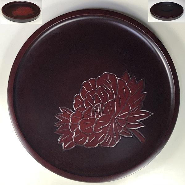 鎌倉彫丸盆W7796