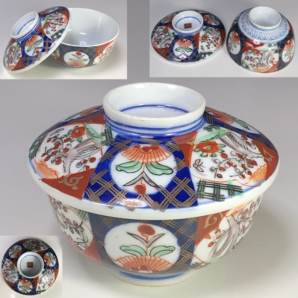 赤絵蓋付茶碗W7801
