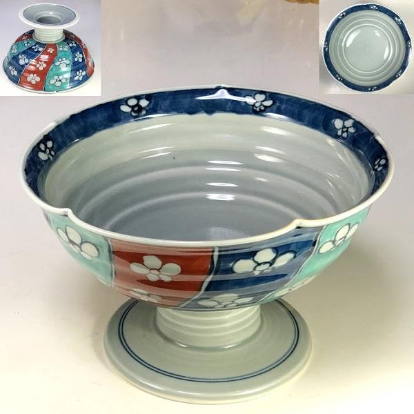 彩窯高足鉢