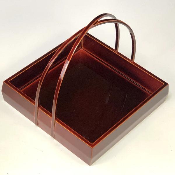 春慶塗取手付角菓子鉢
