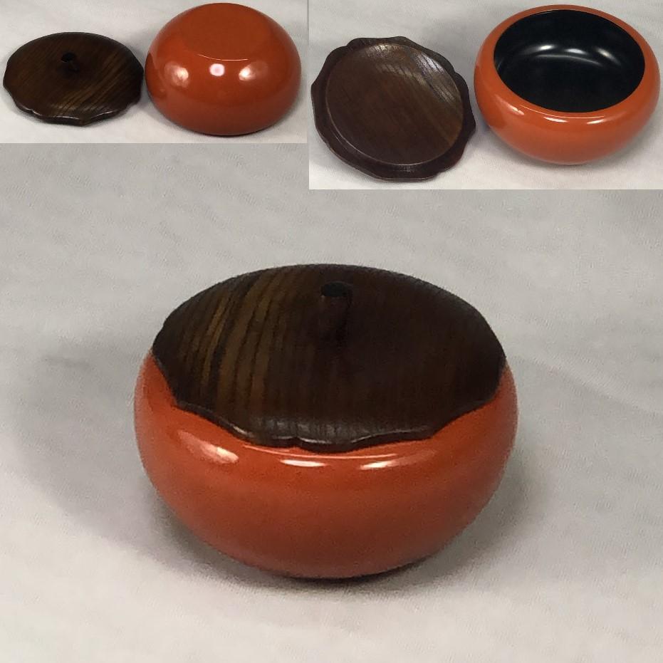 木製漆器柿型薬味入れ