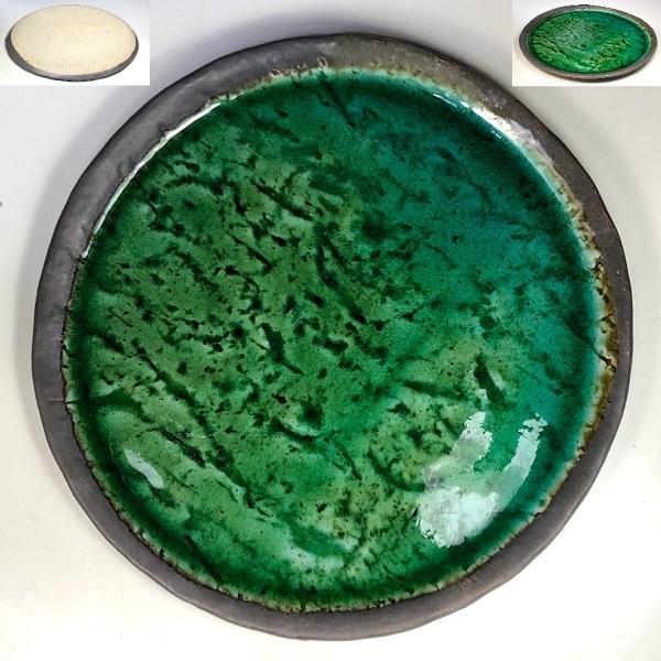 緑釉八寸皿W8291
