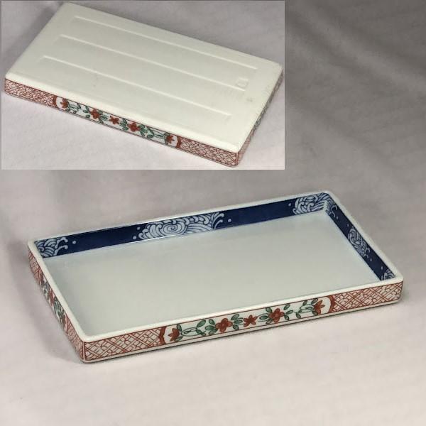 前畑陶器庫山窯赤絵焼物皿長皿W7155