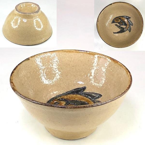 沖縄琉球やちむん飯茶碗W8495