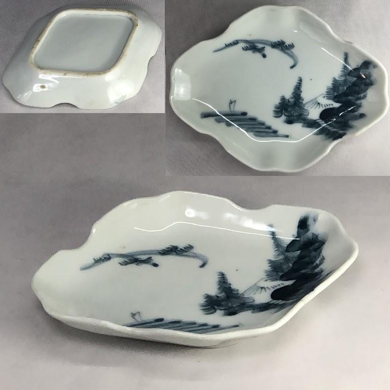 染付山水菱皿W7164
