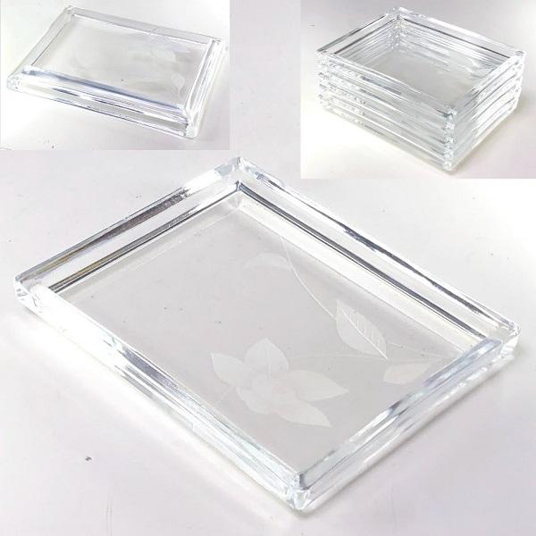 ガラス銘々皿五枚セットW8598