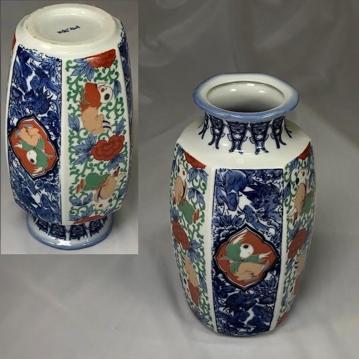 萩窯唐子六角花瓶