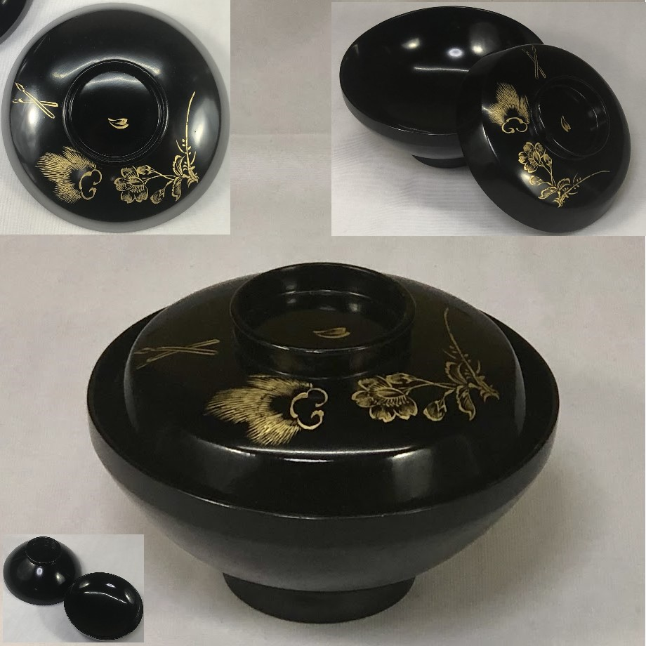 木製漆器黒塗沈金吸物椀W6896