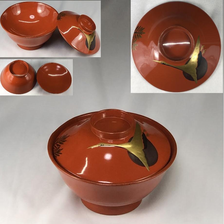 木製漆器朱塗鶴金彩吸物椀