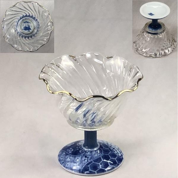 三洋陶器龍峰窯祥瑞フレアーガラス高足小鉢