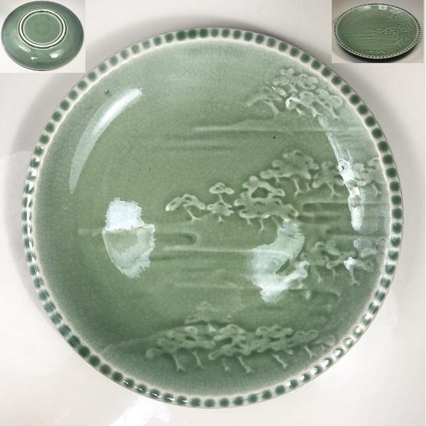 青磁浮彫七寸皿W7290