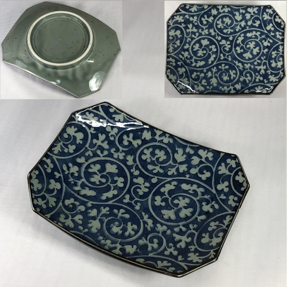 蛸唐草角皿W6928