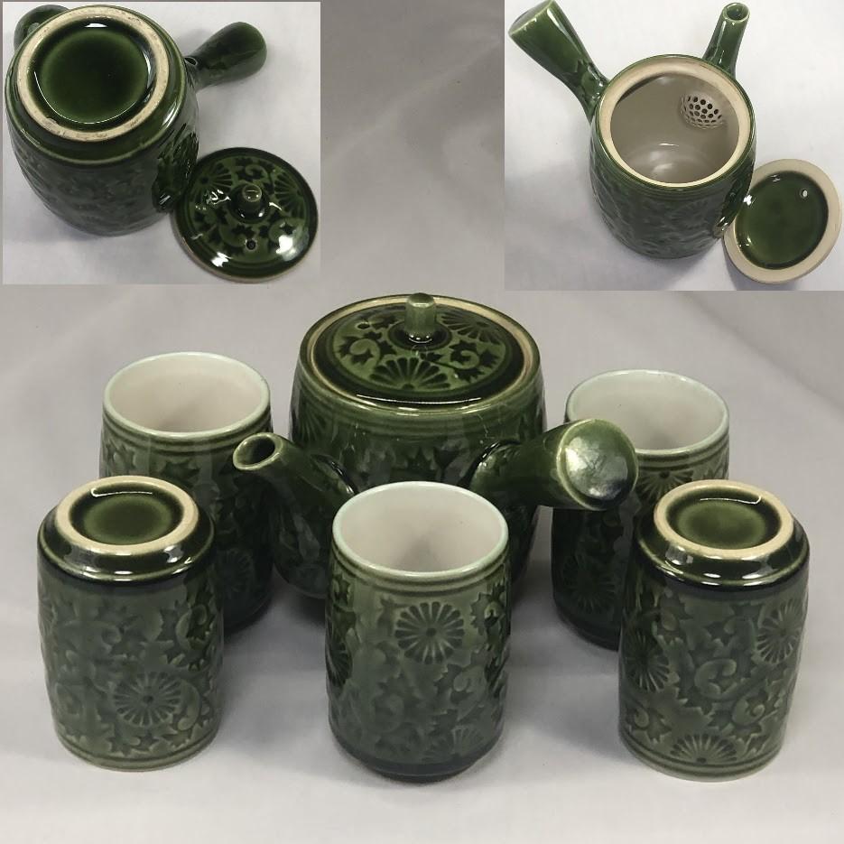 緑釉急須湯呑セットW6932