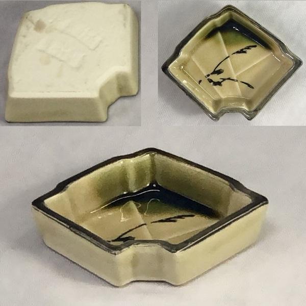 織部扇豆皿W7186