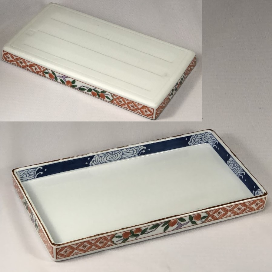前畑陶器庫山窯赤絵焼物皿長皿W7014