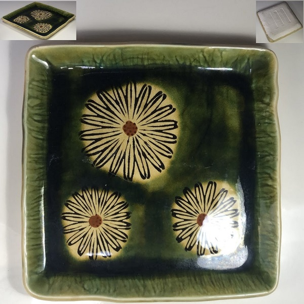織部菊紋角皿W7309