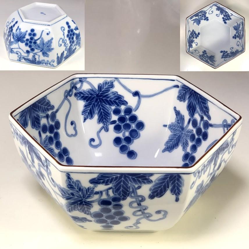 たち吉六角葡萄柄鉢