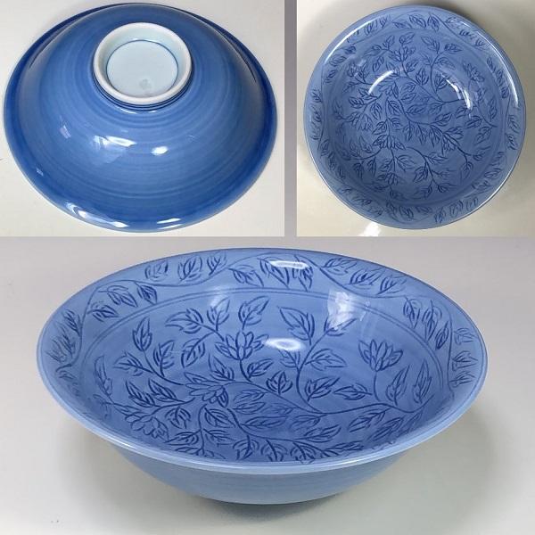たち吉彫花文煮物鉢