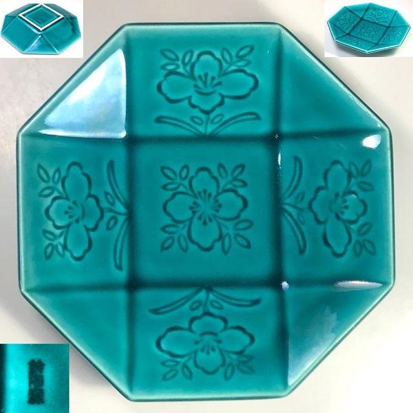 鈴陶窯緑八角皿