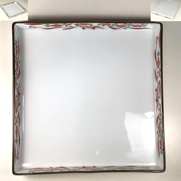 赤絵角盛皿W8081