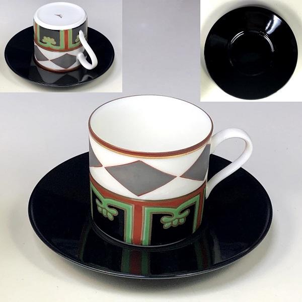 蔵珍色絵銀菱碗皿W8122